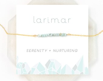 Larimar Choker Necklace, Summer Jewelry, Beaded Layering Necklace, Beach Wedding, Surfer Jewelry, Healing Stone, Raw Crystal, NK-DB