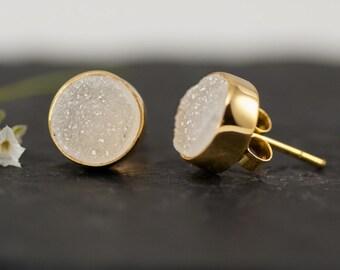 Druzy Stud Earrings - April Birthstone Studs - Gemstone Studs - Round Studs - Gold Stud Earrings - Post Earrings