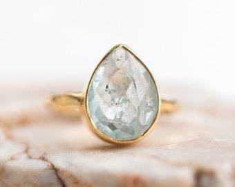 40 0FF - Aquamarine ring - March Birthstone Ring - Gemstone Ring - Stacking Ring - Gold Ring - Tear Drop Ring, RG-PB