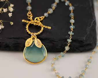 Aqua Blue Chalcedony Necklace - Personalized Necklace - Aquamarine Wire Wrapped March Birthstone Necklace - Gold Toggle Clasp