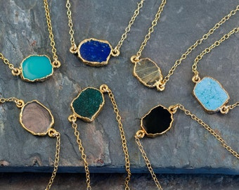 Gemstone Slice Connector Necklace, Gemstone Choker, Layered Necklaces, Electroformed Slice, Gold Necklace, Layering Jewelry, NK-GS