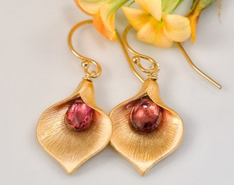 Tourmaline Garnets Earrings - October Birthstone Earrings - Calla Lily Earrings - Gold Earrings - Nature Inspired Jewelry - Gift under 30