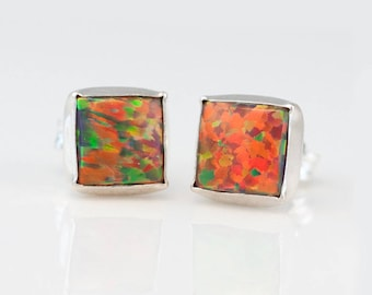 Fire Opal Stud Earrings, Sterling Silver Boho Earrings, Birthday Gift Idea, Opal Earrings, Best Friend Gift, Fire Opal Jewelry, EA-SQ