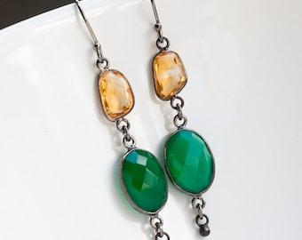 Green Onyx Earrings - Oxidized Silver Earrings - Yellow Citrine Gemstone Earrings - Long Dangle Earrings