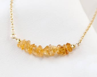 Natural Citrine Bar Necklace, November Birthstone Necklace, Raw Gemstone, Birthstone Layering Necklace, Birthday Gift for Her, NK-RB