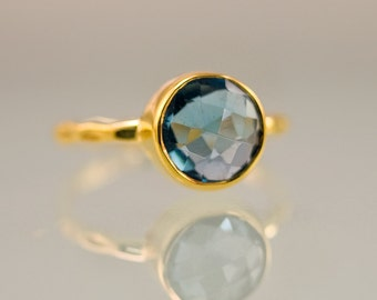 London Blue Topaz Ring Gold - December Birthstone Ring - Solitaire Ring - Stackable Stone Ring - Gold Ring - Round Ring