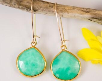 Chrysoprase Earrings -  Long Dangle Earrings - Gemstone Earrings - Gold Earrings - Chrysoprase Jewelry