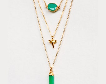 Layered Necklace Set - Set of 3 - Mint Chrysoprase Necklace - Layering Necklaces - Gold Necklace - Shark Tooth Necklace - Boho Chic Jewelry