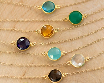 Colorful Gemstone Connecter Necklace, Layering Necklace, Round Stone Jewelry, Gold Necklace, Delicate Minimal Jewelry, Summer Choker, Gifts