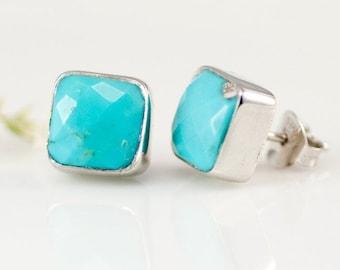 Turquoise Stud Earrings - December Birthstone Studs - Gemstone Studs - Cushion Cut Studs - Silver Stud Earrings - Post Earrings, EA-SQ
