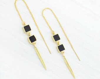 Geometric Onyx Threader Earrings, Modern Gemstone Earrings, Autumn Jewelry, Back to School Earrings, Black Onyx Earrings, Square Gem, TH-SQ