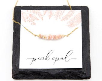 Pink Opal Necklace, Joy Necklace, October Birthstone, Minimal Bar Choker, Blush Pink Jewelry, BFF Gift, Graduation Gift, NK-RB