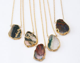 Ocean Jasper Gem Slice Necklace, Layered Necklaces, Electroformed Slice, Boho Choker, Gold Framed Stone, Natural Stone Pendant