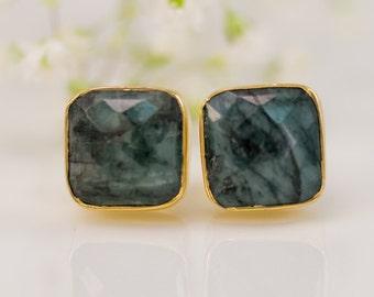 Raw Emerald Stud Earrings - Mary Birthstone Studs - Gemstone Studs - Cushion Cut Studs - Gold Stud Earrings - Post Earrings, EA-SQ