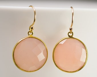Pink Chalcedony Quartz - October Birthstone Jewelry - Round Gemstone Earrings - Gold Earrings - Drop Earrings