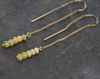 Ethiopian Opal Earrings - Ear Thread Earrings - Ear Threader - Minimal Jewelry - Long Gold Dangle Earring - October Birthstone Jewelry