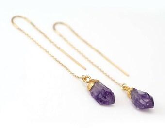 Raw Purple Amethyst Threader Earrings, February Birthstone Earrings, Rough Stone Earrings, Long Gold Earrings, Ear Threader, Boho Chic, TH-N