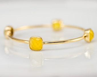 Bangle - Yellow Chalcedony Bracelet - Gemstone Bangles - Bezel Set Bangles - Gold Bracelets