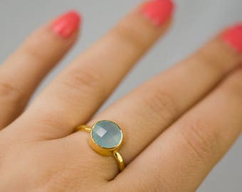 Aqua Blue Chalcedony Ring Gold - Solitaire Ring - Gemstone Ring - Stacking Ring - Gold Ring - Round Ring