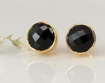 Black Onyx Gemstone Stud Earrings, Gold Framed Stone, Minimalist Earrings, Everyday Jewelry, Gift Ideas for Her, Round Studs