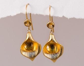 Citrine Earrings - Yellow earrings - November Birthstone Earrings - Calla Lily Earrings - Gold Earrings - Nature Inspired Jewelry