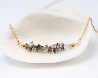 Raw Diamond Necklace, Herkimer Diamond Bar Necklace, Birthday Gift for Her, Raw Stone Necklace, Layering Necklace, Beaded Necklace, NK-RB