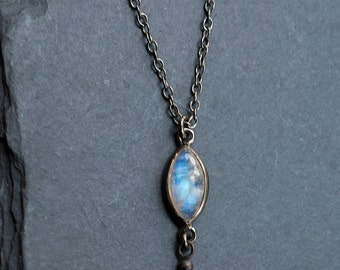 Marquise Rainbow Moonstone Necklace, June Birthstone, Black Silver, Moonstone Pendant, Small Stone, Everyday Necklace, Celestial Gift