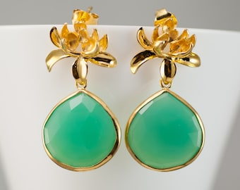 Chrysoprase Earrings - Lotus Flower Earrings - Post Earrings - Gold Earrings -  Bridal Earrings