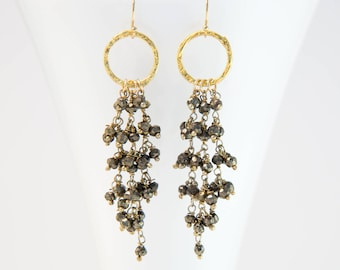 Pyrite Tassel Drop Earrings, Metallic Stone Earrings, Statement Earrings, Beaded Gemstone Earrings, Hammered Hoop, Gift for Her, Cascade