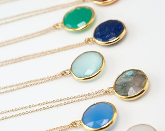 Gemstone Pendant, Gold Necklace, Everyday Layering Necklace, Bridesmaid Gift Ideas, Gold Framed Stone, Gift For Her, Round Gemstone, NK-RD