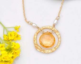 November Birthstone necklace - Citrine Necklace - 22k Gold Vermeil necklace - Hammered Circle Necklace- 14k Gold Filled, NK-HC