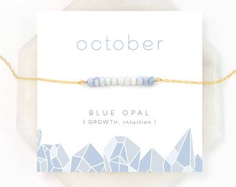 Ombre Blue Opal Necklace, October Birthstone, Natural Opal, Birthday Gift, Bar Necklace, Dainty Necklace, Beaded Bar, Pastel Necklace, NK-DB