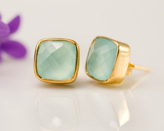 Aqua Blue Chalcedony Stud Earrings - Gemstone Studs - Cushion Cut Studs - Post Earrings