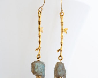 Raw Labradorite Earrings - Rough Stone Dangle Earrings - Long Drop Earrings - Boho Chic Jewelry - Raw Crystal Earrings