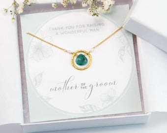 Mother of the Groom Gift Necklace, Gift From Son, Raw Emerald Pendant Necklace, Gemstone Necklace, Gift for Her, Custom Wedding Jewelry