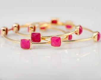 Bangles - Fuchsia Pink Chalcedony Bangles -  Hot Pink Bangles - Gemstone Bangles - Stacking Bangles - Gold Bangle