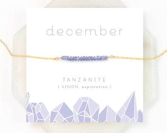 December Birthstone Necklace, Beaded Tanzanite Jewelry, Summer Wedding, Small Stone Necklace, Purple Gemstone, Celestial Necklace, NK-DB