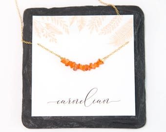 Carnelian Healing Gemstone Bar Necklace, Inspirational Gift, Rough Natural Crystal Necklace, Chakra Gift, Gifts for Her