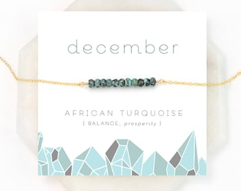 December Birthstone Necklace, African Turquoise Bar Necklace, Healing Gemstone Gift, Dainty Gold Necklace, Silver Necklace, NK-DB