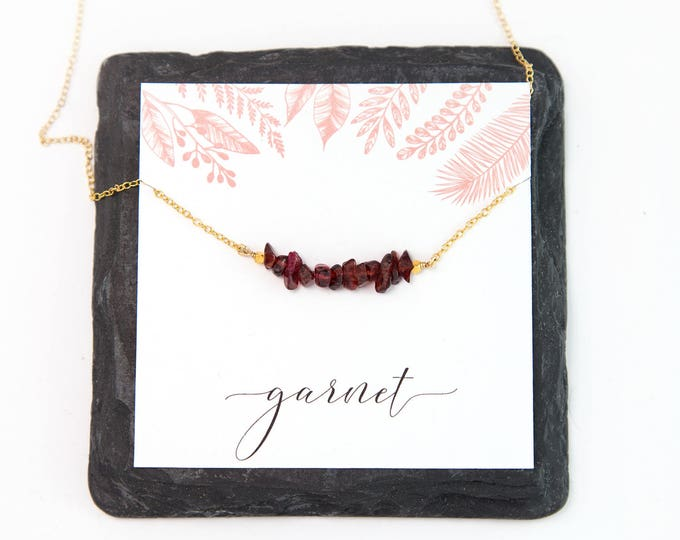 Featured listing image: Natural Garnet Cluster Necklace, January Birthstone Gift, Gemstone Bar Necklace, Everyday Necklace, Graduation Gift, Gift Under 30, NK-RB
