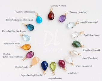 Add on Birthstone - Personalized Birthstone Charm - Natural Birthstones
