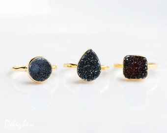 40 OFF - Black Druzy Ring - Grey Druzy Ring - Gemstone Ring - Stacking Ring - Gold Vermeil Ring - Round Ring