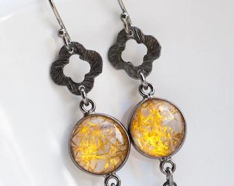 Rutilated Quartz Earrings, Black Silver, Golden Rutile, Clover Earrings, Dangle Earrings, Black and Gold, Prom Earrings, Modern Earrings