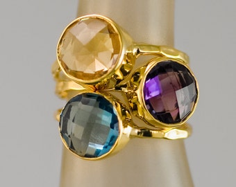 Mother's Ring Set - Birthstone Stackable Ring Set -  Stacking Ring -  Bezel Rings - Gold Rings -  Vermeil Ring - Gemstone Rings