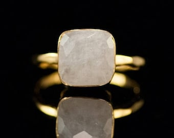 40 OFF - White Moonstone Ring - June Birthstone Ring - Gemstone Ring - Gold Ring - Bezel Set Ring, RG-SQ