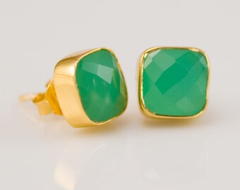 Chrysoprase Stud Earrings - Gemstone Studs - Cushion Cut Studs - Gold Stud Earrings - Post Earrings