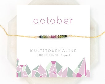 October Birthstone, Multi Tourmaline Minimal Necklace, Gift for Her, Watermelon Tourmaline, Ombre Jewelry, Dainty Gemstone Bar, NK-DB