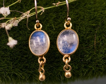 Rainbow Moonstone Earrings, Dainty Gold Earrings, Natural Stone, Mother's Day Gift, Summer Wedding, Bridal, Dangle Earrings, Blue Flash Gems