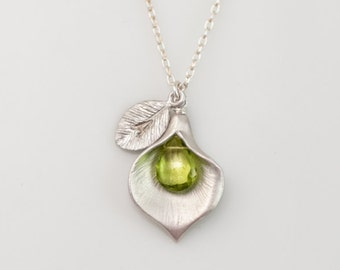 Peridot Birthstone Necklace - August Birthstone Necklace - Custom Initial Jewelry  - Personalized necklace - Calla Lilly Necklace