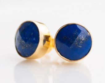 Gold Lapis Lazuli Stud Earrings, September Birthstone Studs, Gemstone Studs, Round Stone Studs, Trending Earrings, Birthstone Gift